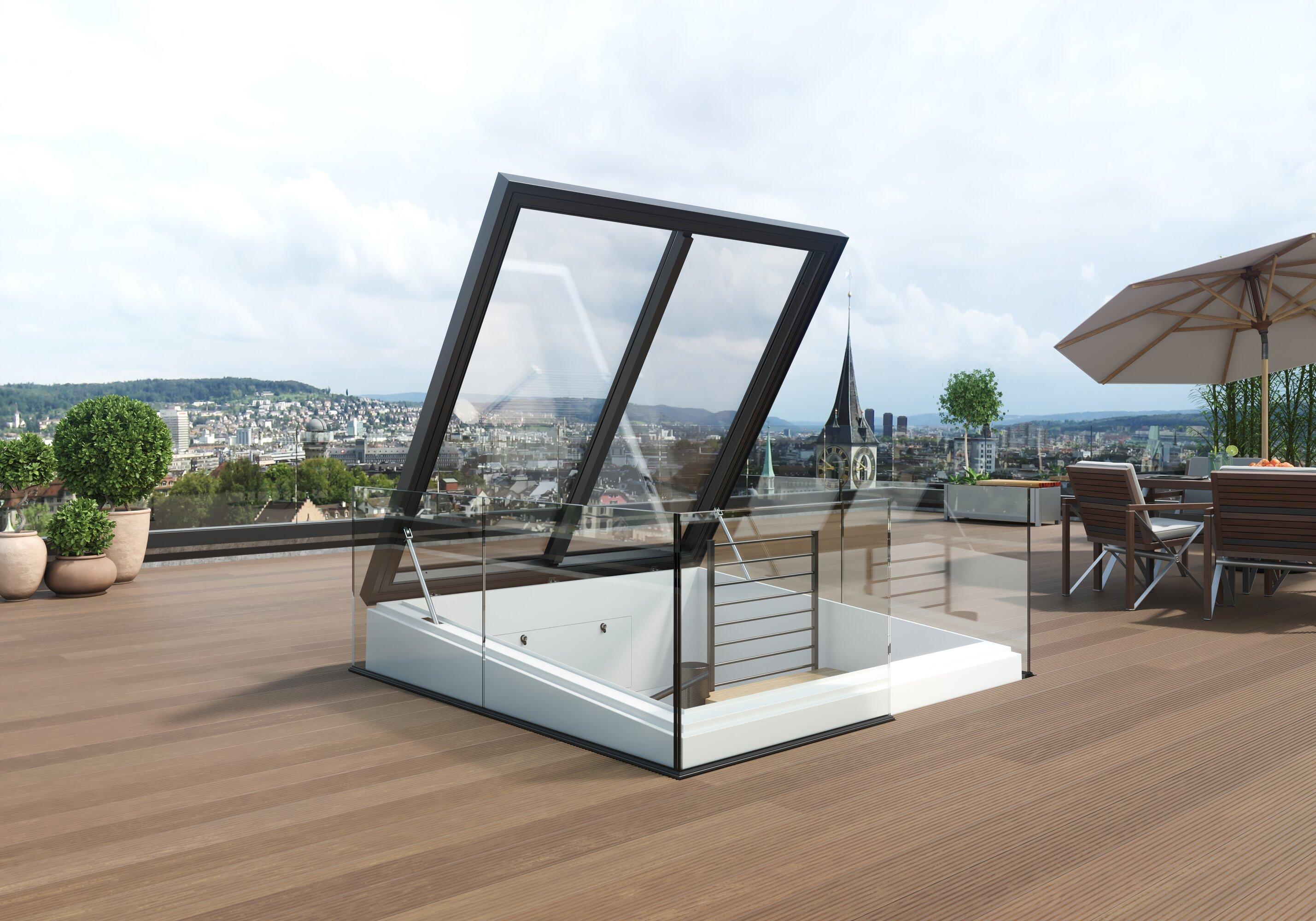 Quadratischer Ausstieg ermöglicht Wendeltreppe zur Dachterrasse