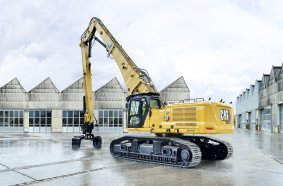 Der neue Cat 340 UHD mit 232 kW (316 PS) und 54 bis 56 Tonnen Einsatzgewicht kann mit 3,3 Tonnen Werkzeuggewicht in 25 Meter Höhe arbeiten. Foto: Caterpillar/Zeppelin