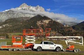 Johann Messner in Saalfelden (Salzburg) vermietet seine Arbeitsbühnen künftig auch über Digando.com.  Foto: Martin Maiburger.