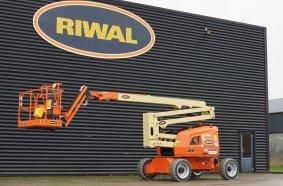 Neu im internationalen Riwal Mietflotte: die emissionsfreie Gelenkteleskop-Bühne JLG EC520AJ © Riwal