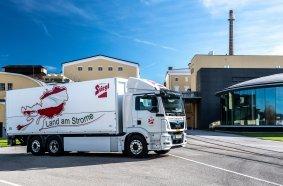 Die österreichische Stieglbrauerei hat einen Elektro-Lkw von MAN mit Reifen von Continental in ihrem Fuhrpark.