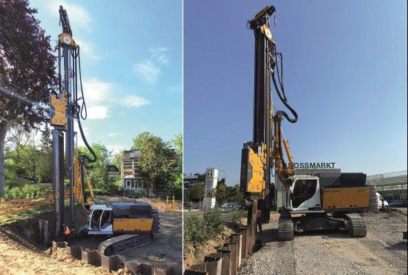 RG 19T mit integriertem Spundbohlenassistent bei einem Projekt in Berlin & RG 19T mit integriertem Spundbohlenassistent bei einem Projekt in Karlsruhe