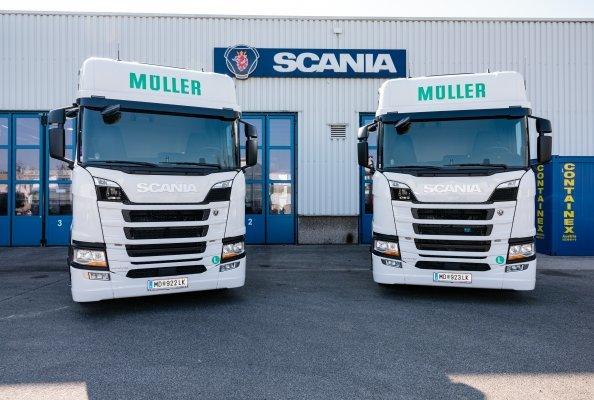 Müller Transporte erhielt am 1. März 2021 zwei Scania LNG-Fahrzeuge.