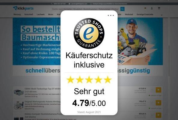 Mit fünf Sternen erhält klickparts von seinen Kundinnen und Kunden Bestnoten in Sachen Abwicklung, Preis-Leistungsverhältnis und Beratung.