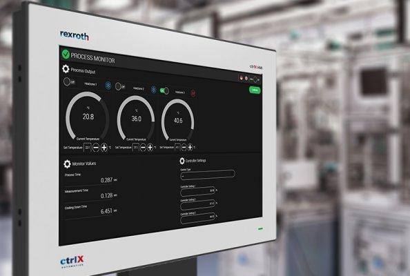 Webbasierte Maschinenbedienung mit der Visualisierungssoftware der Smart HMI GmbH (Bildquelle: Bosch Rexroth AG)