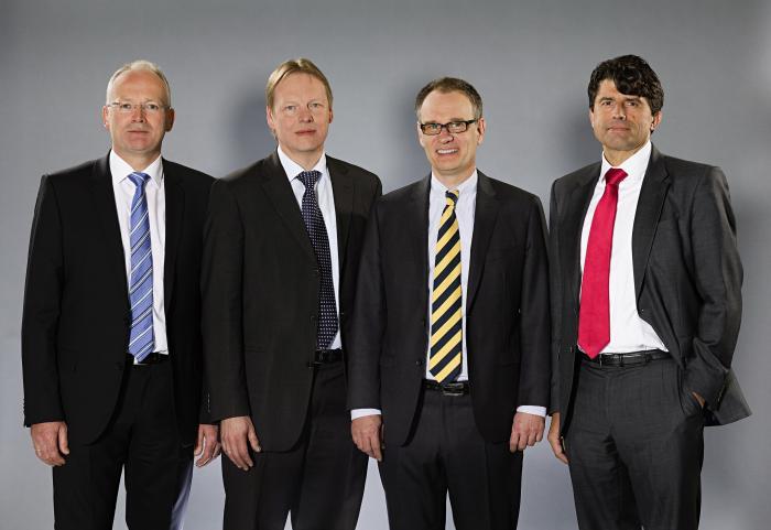 Die Geschäftsführung der BEUMER Group: (v. l.) Dr. Hermann Brunsen, Dr. Detlev Rose, Dr. Christoph Beumer (Vorsitzender) und Norbert Hufnagel.