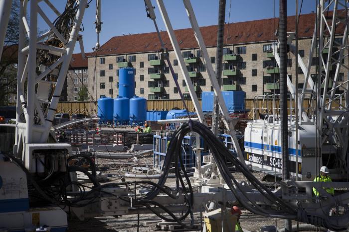 Wasseraufbereitungsanlage am Startschacht einer Tunnelbohrmaschine in Kopenhagen.