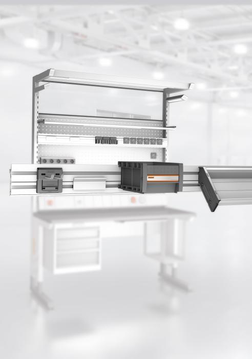 Die GARANT Multifix-Schiene kann variabel mit verschiedenen Werkzeughaltern Easyfix, zahlreichen GARANT Boxen oder magnetischen Zeichnungshaltern kombiniert werden.