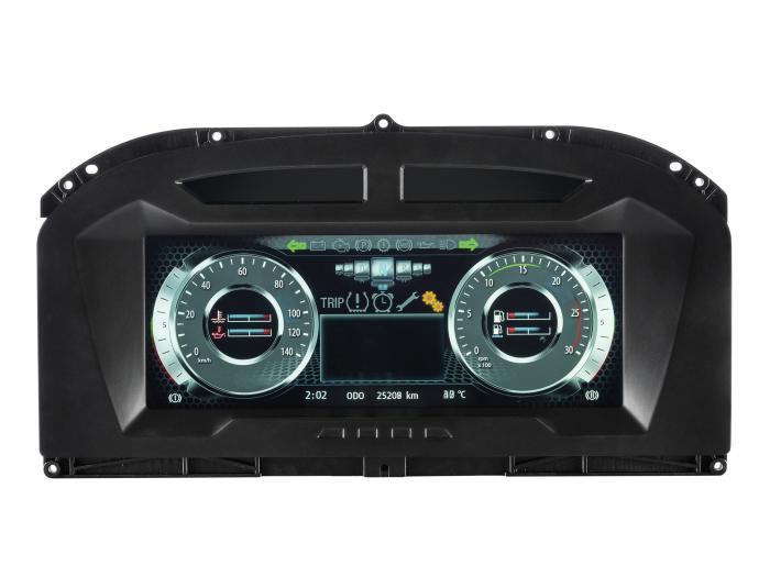 Das Kombi-Instrument MultiViu Professional12 von Continental verfügt über ein hochauflösendes 12,3 Zoll Farb-TFT-Display, eine echtzeitfähige 2D-Grafik- sowie Videodarstellung.