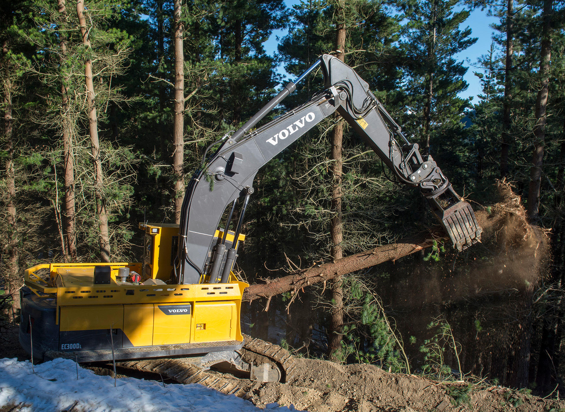 With a factory-fit forestry cab, heavy-duty undercarriage and reinforced boom arm, the Volvo EC300DL is ready to work.