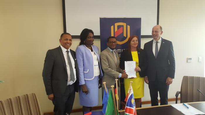 Hon Tiefensee and Hon. Dr. Murangi-Kandjii with Namibia University of Science and Technology and EHP Jena