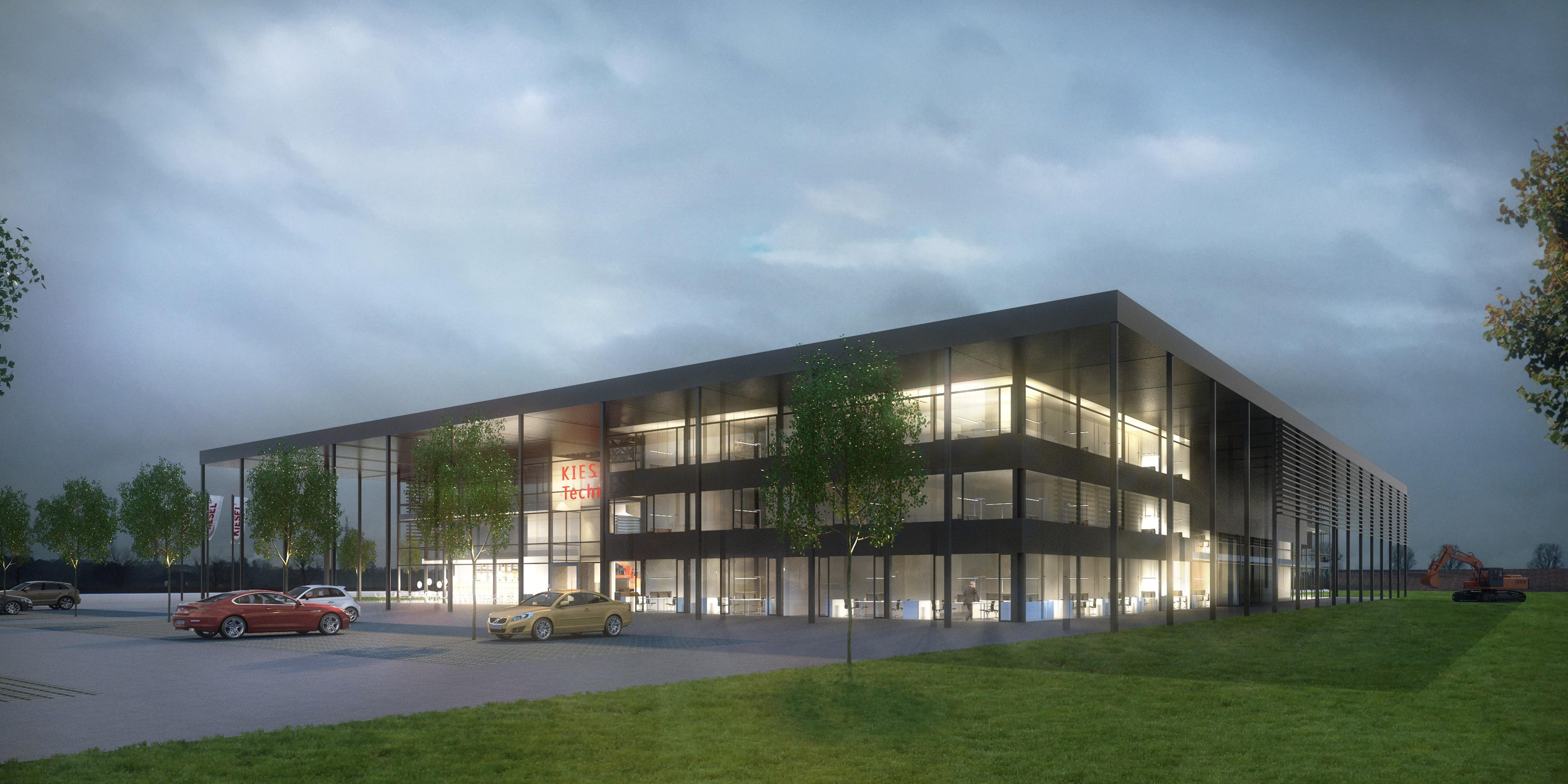 Das Zentrum der neuen Kiesel Technik Welt: Das Gebäude mit Austellungsfläche, Werkstattboxen, Schulungsräumen und vielem mehr.