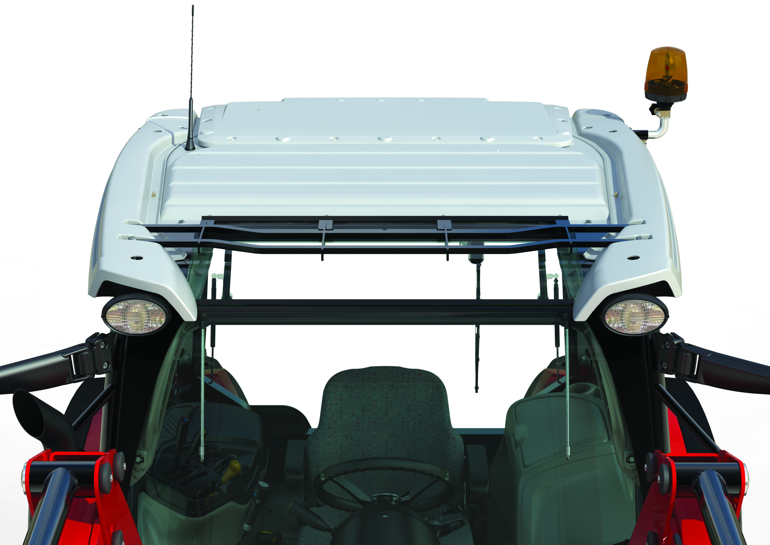Massey Ferguson Global Series Visioline roof option further improves visibility for loader operations.