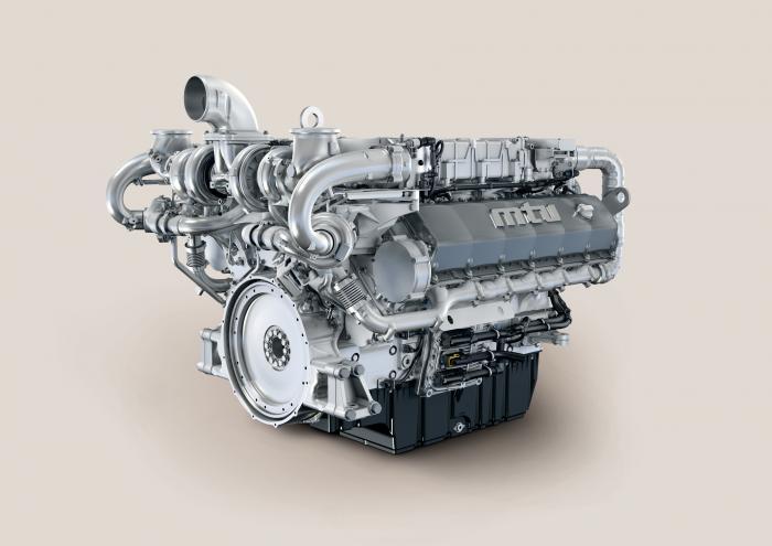 Die Motoren der Baureihe 1600 werden mit Leistungen zwischen 567 und 730 kW angeboten. Die US-Emissionsstufe EPA Tier 4 erfüllen sie mittels Hochdruck-Common-Rail-Einspritzung, zweistufiger Aufladung und gekühlter Abgasrückführung. Abgebildet: 12V 1600 C