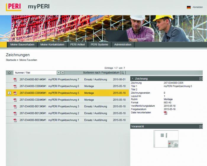 Das Online Portal myPERI stellt nun auch aktuelle Projektzeichnungen zum Download zur Verfügung; die Nutzer werden bei Neuerungen automatisch benachrichtigt.