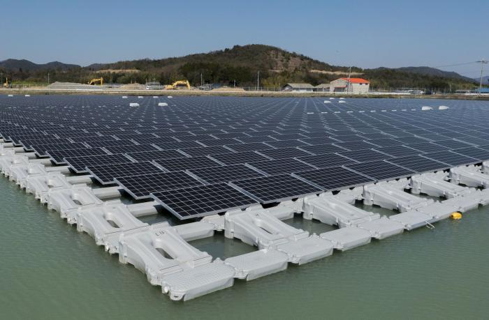 1.7MW floating solar power plant at Nishihira Pond