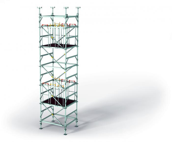 Für den PERI UP Flex Stützturm MDS wurde eine neue Belaglogik entwickelt – die Beläge werden einfach eingehängt. In der Anwendung hat sich verifiziert, dass das die Montage deutlich beschleunigt. Daher sind die Montagebeläge auch in anderen Lägen geplant.