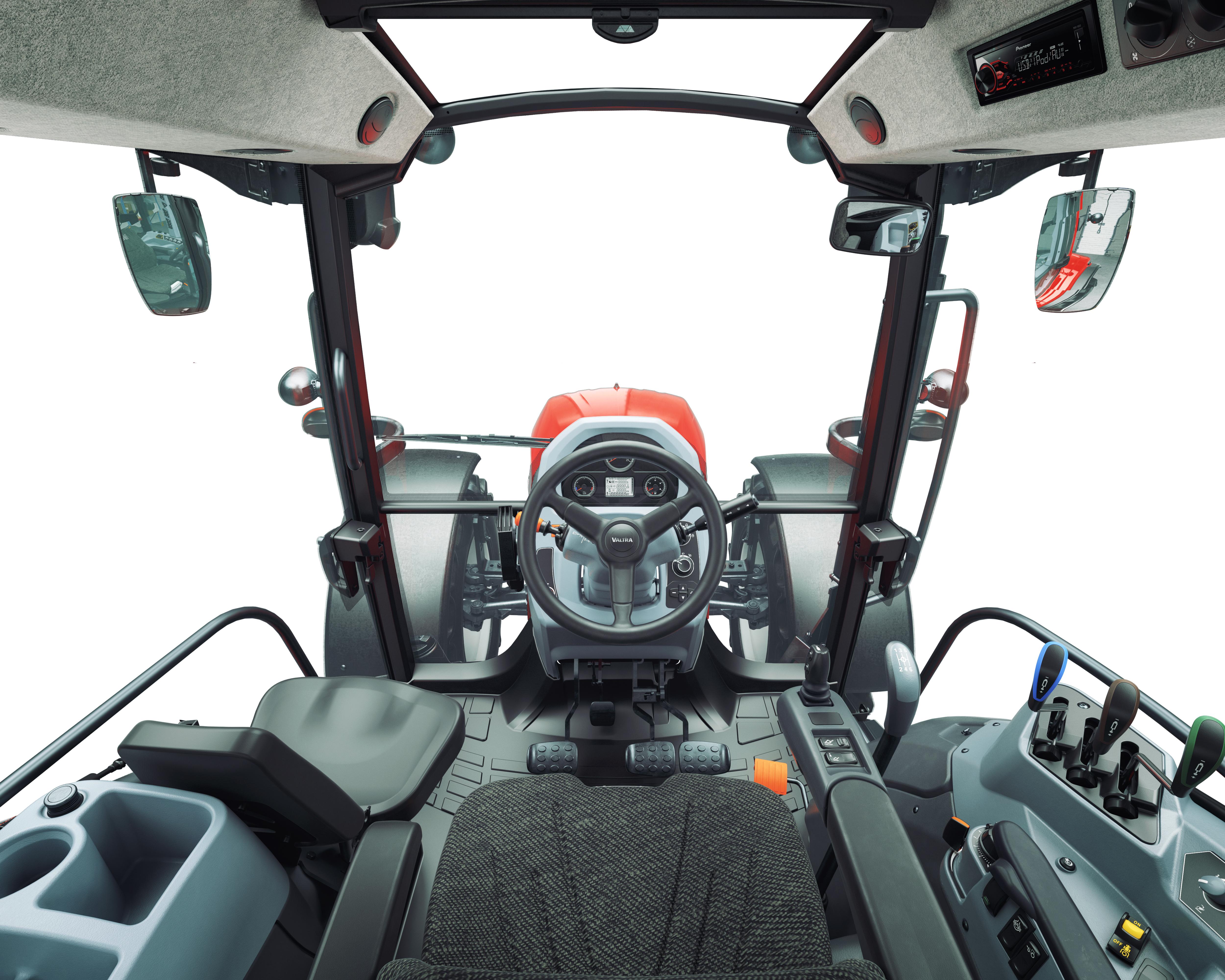 Die 5-Pfosten Kabine mit ihren kompakten Abmessungen und ausgezeichnetem Handling bietet eine moderne und komfortable Arbeitsumgebung. Die Kabine ist leise, der Geräuschpegel liegt bei 75 dB.