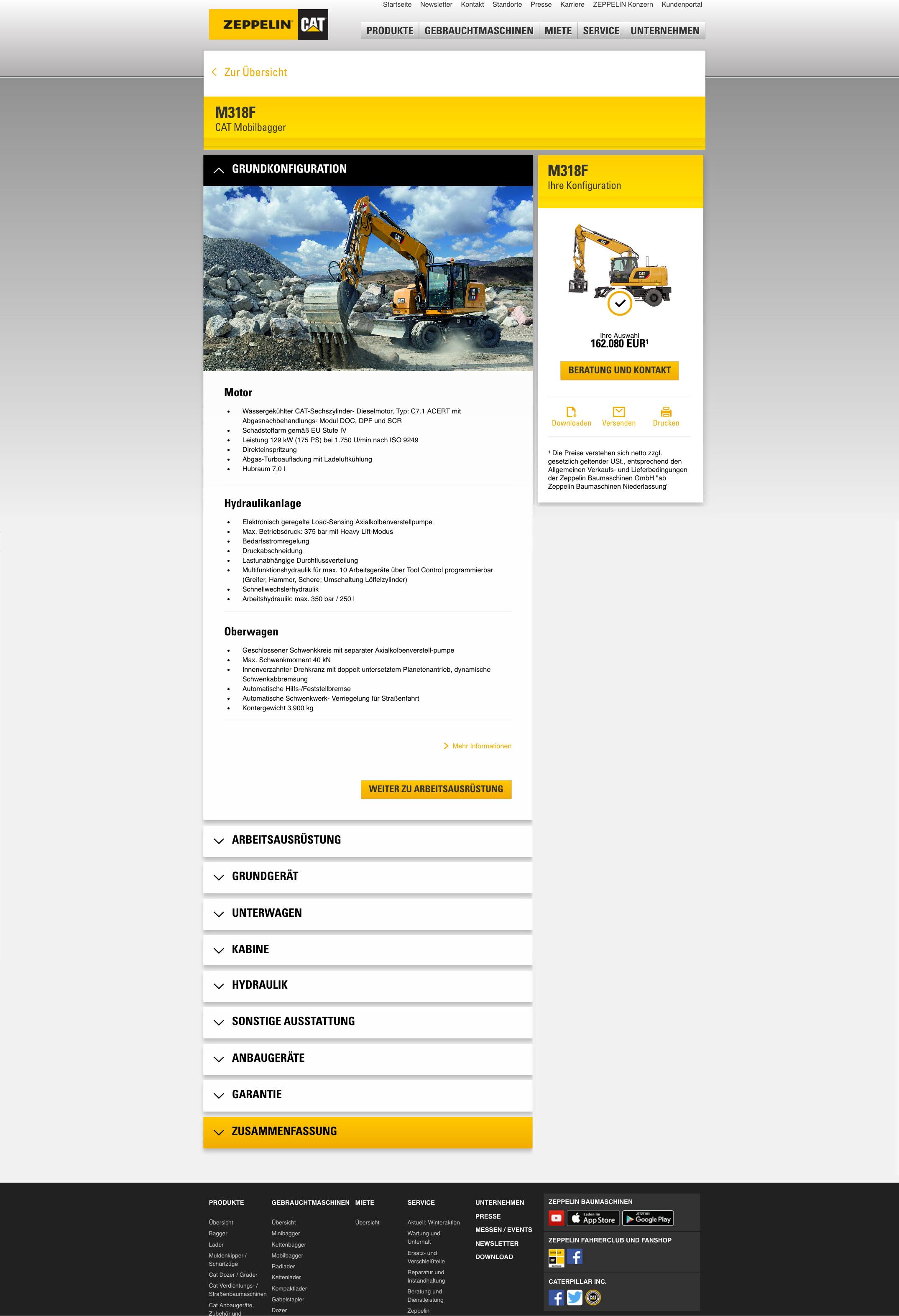 Zeppelin Konfigurator im Internet: Wie bei einem Baukasten lässt sich hier ein Cat Bagger oder Cat Radlader zusammensetzen, der Preis passt sich bei jeder Eingabe an. Am Ende wird eine Zusammenfassung des Angebots in Form eines pdf generiert, das der Kunde ausdrucken, speichern oder per Email verschicken kann. Foto: Zeppelin