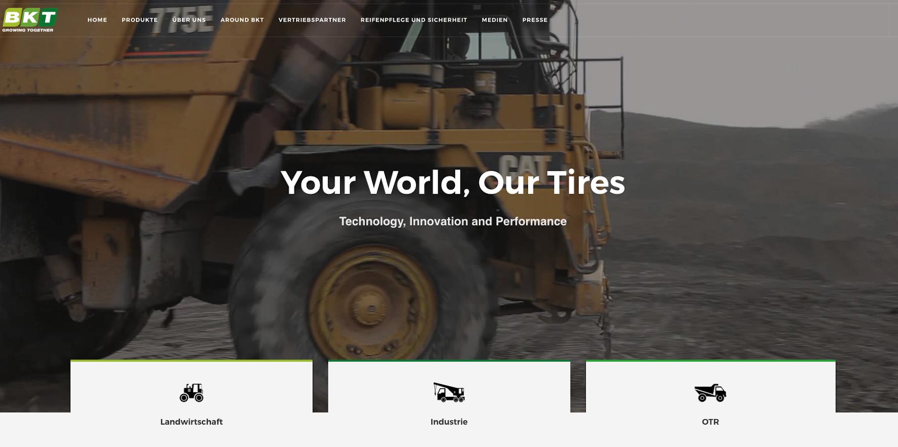 Dynamisch und fesselnd ist BKTs neuer Internetauftritt mit den Reifen in den Hauptrollen ohne gleichen