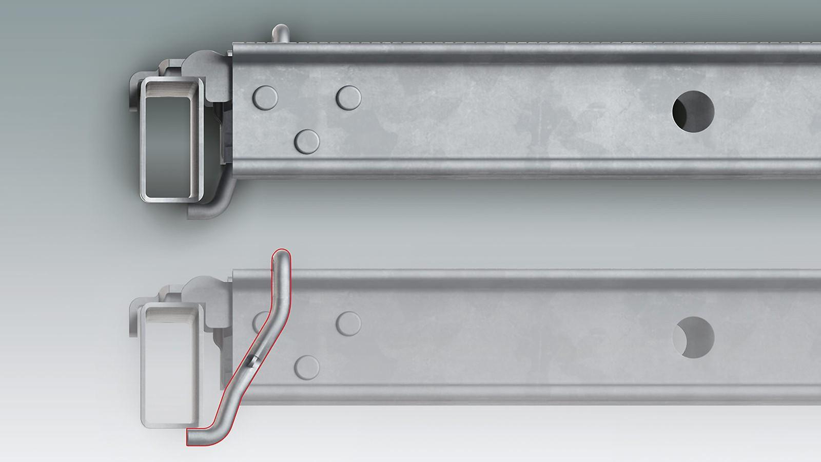 Die integrierte Abhebesicherung des Gerüstbelags im Detail: Der integrierte Bügel des Belags untergreift den rechteckigen Riegel und sichert damit die Belagsposition. Die PERI UP Beläge sind also nach dem Einlegen ohne Zusatzbauteile gegen Abheben gesichert.