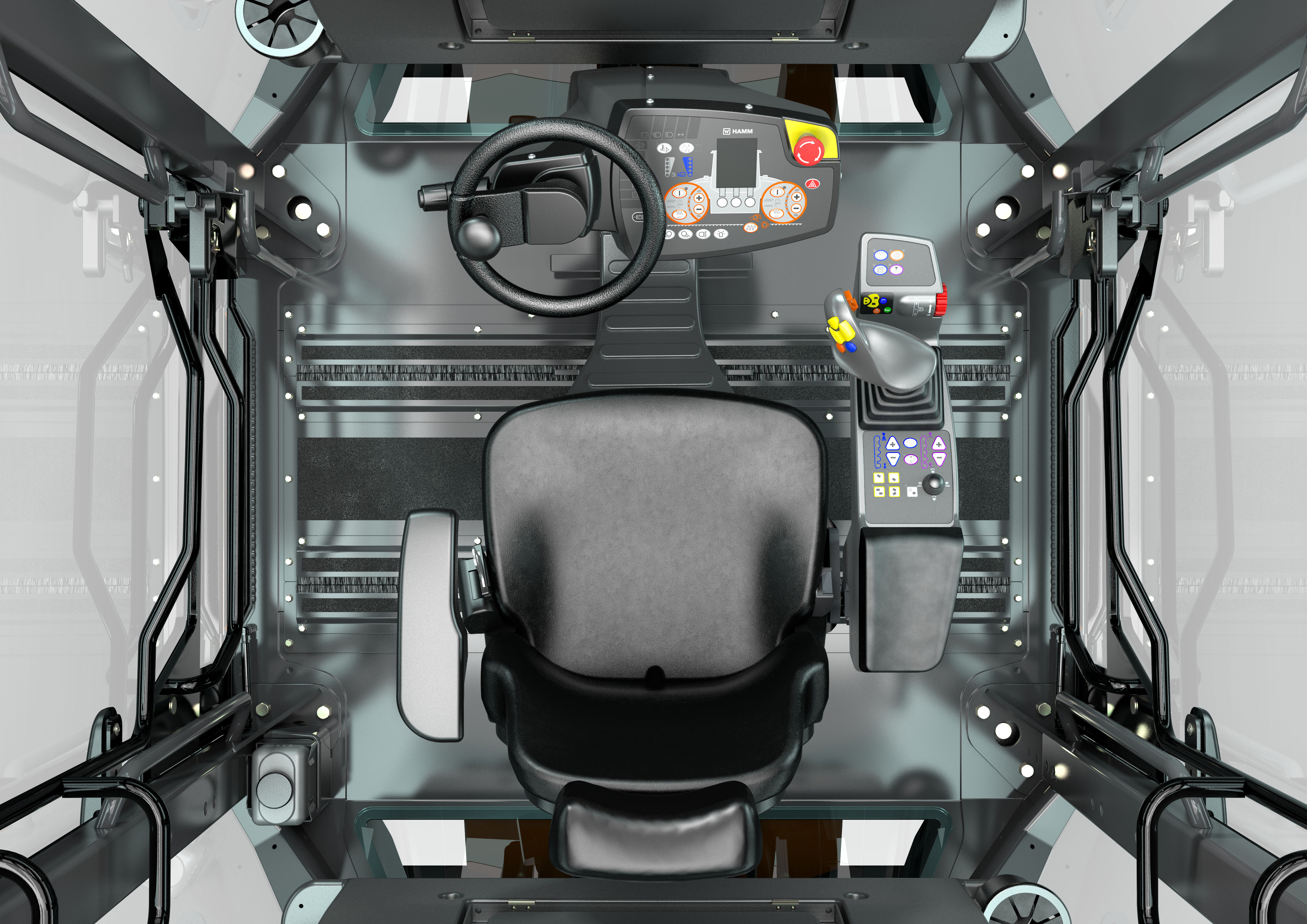 Drivers experience the benefits of the Hamm Easy Drive operating concept in the DV+: the driver's seat, steering wheel, joystick and multifunction armrest form a harmonious unit that enables uninterrupted, relaxed working.