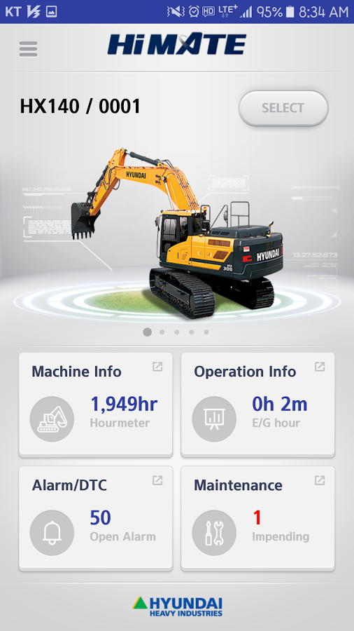 The new mobile application for Hyundai's Hi-Mate remote management system provides equipment owners and managers comprehensive location and operational monitoring for their Hyundai wheel loaders and excavators. The mobile app is available for use on smartphones and other devices that use the Android operating system.