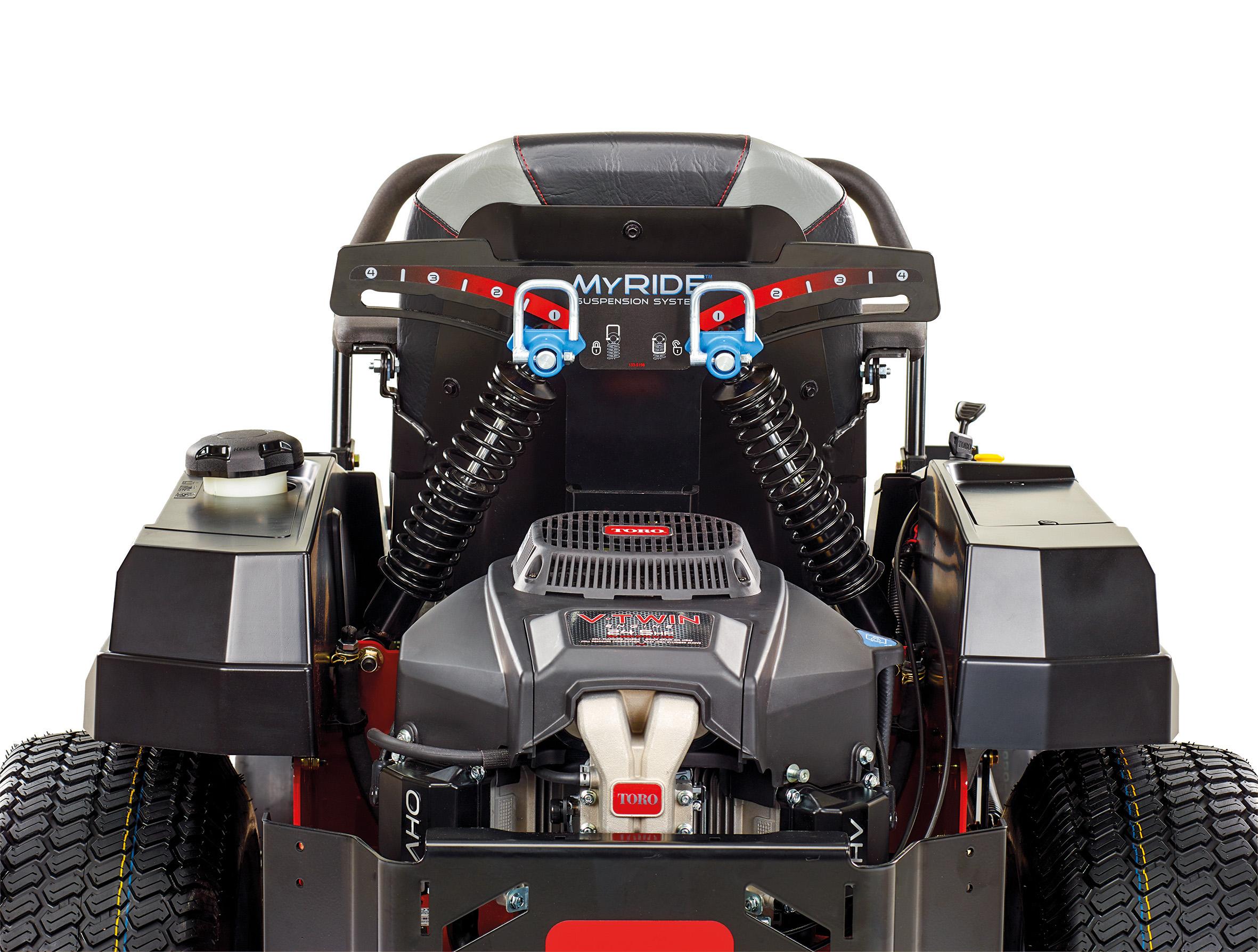 Die eigens entwickelte Plattformfederungstechnik MyRide schützt den Bediener vor Erschütterungen und Vibrationen: Werkzeuglos verstellbar und mit schockabsorbierenden Dämpfern.