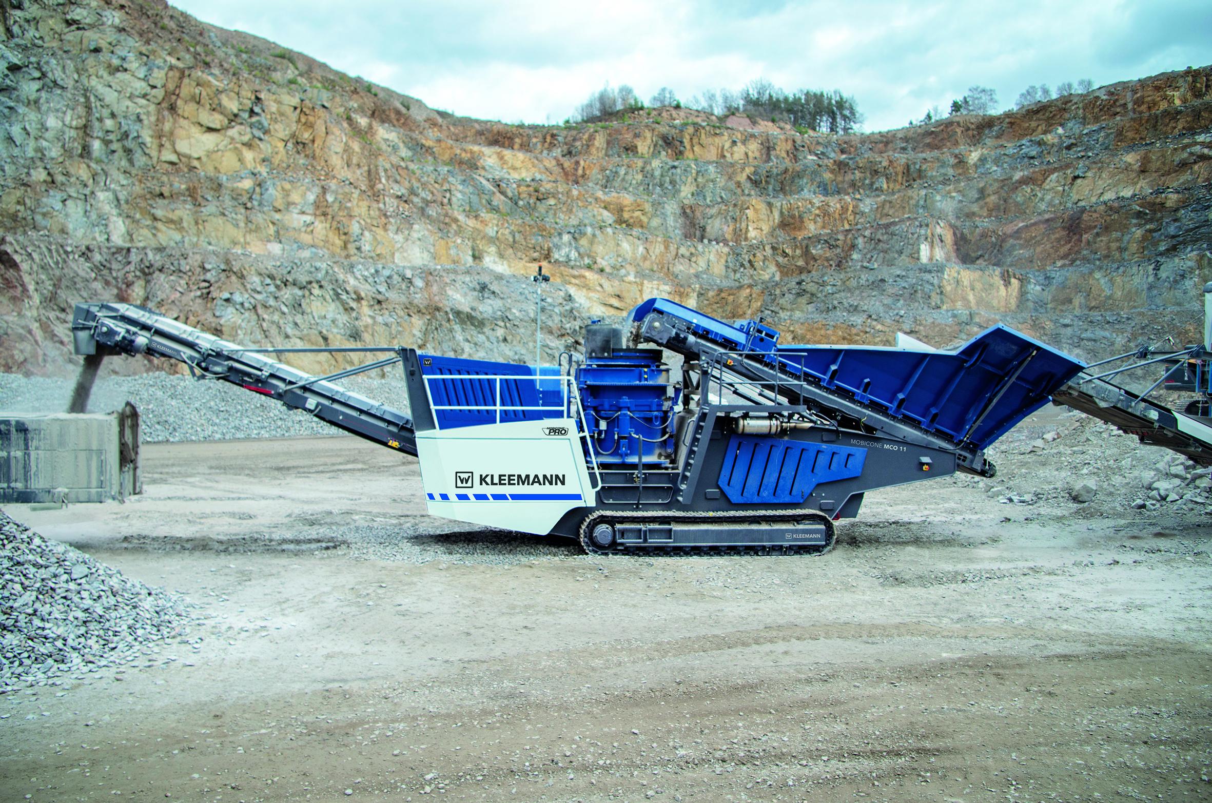 Die neue mobile Kegelbrechanlage MOBICONE MCO 11 PRO ist besonders robust konstruiert und überzeugt mit hoher Leistung im Steinbrucheinsatz.