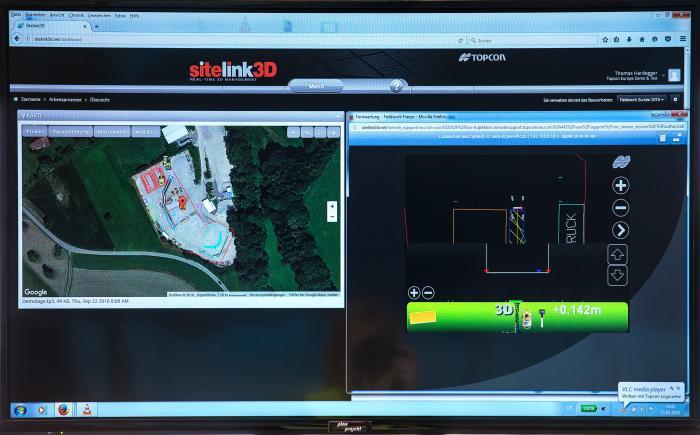 Die Software SiteLink zur Überwachung und Steuerung der Baustelle schafft Transparenz für alle Beteiligten.