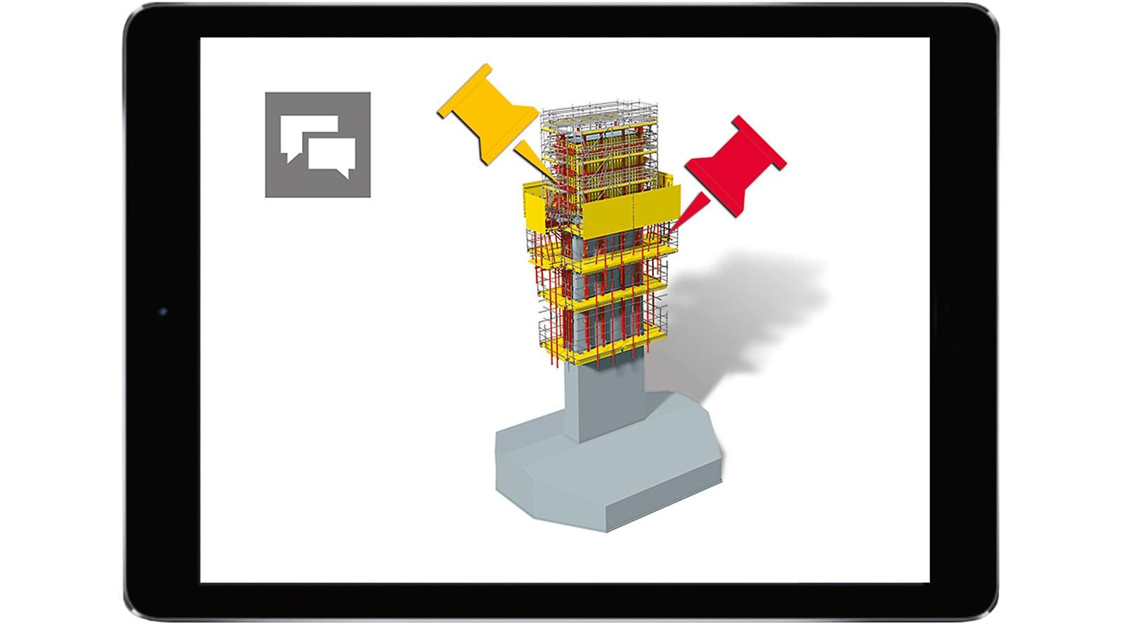 Zu klärende Punkte oder auch Kollisionen kann das Baustellenteam direkt am Modell markieren und beschreiben. Über definierte Kommunikationswege ist auch die Information zur Lösung transparent für alle Projektbeteiligten ersichtlich.