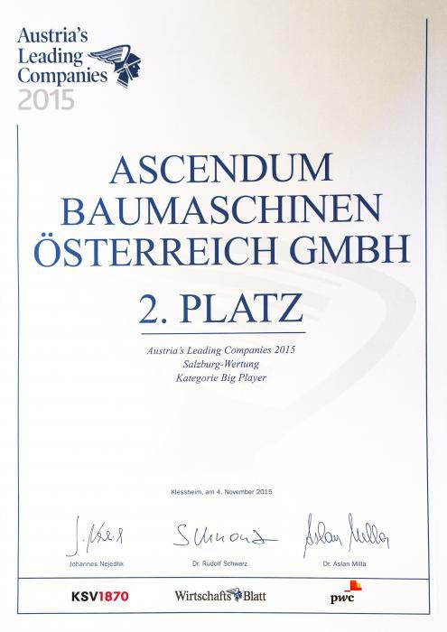 Platz 2 für Ascendum Baumaschinen Österreich GmbH