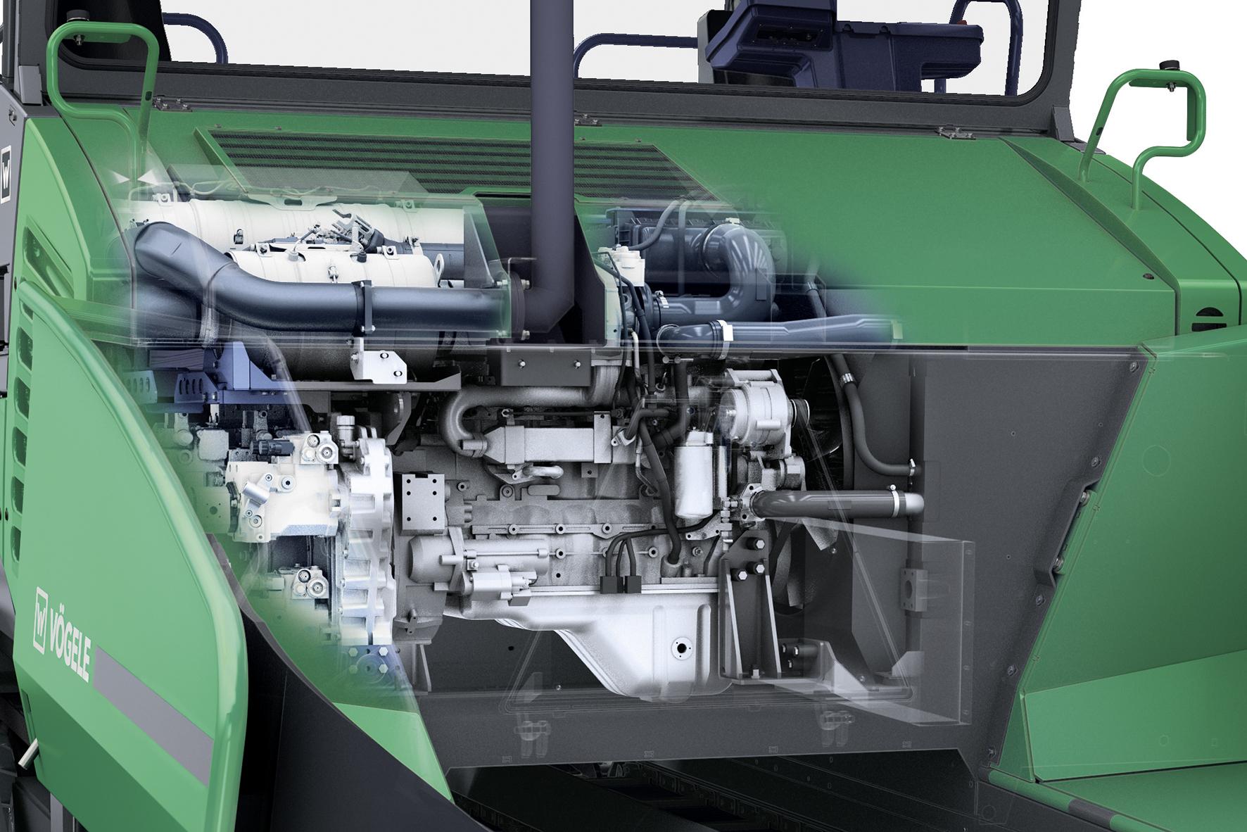 Die treibende Kraft hinter den beiden VÖGELE Highway Class Fertigern ist ein leistungsstarker Cummins Sechszylinder-Dieselmotor mit 186 kW (250 hp). Ein intelligentes Motormanagement mit ECO-Stufe sorgt für einen geringen Kraftstoffverbrauch und einen geräuscharmen Betrieb.