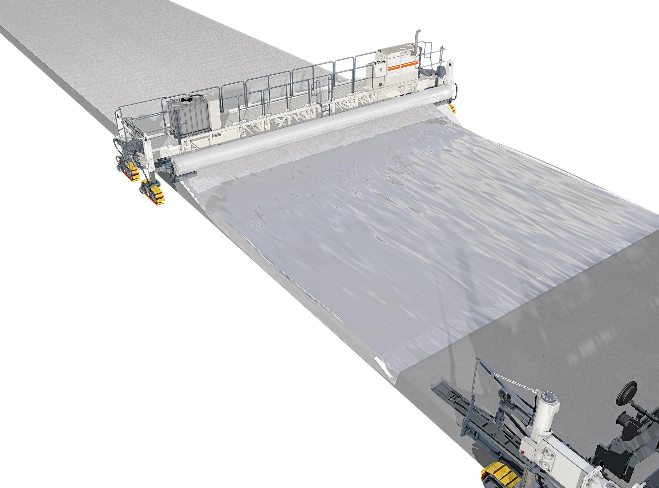 Der TCM 180i kann auf Kundenwunsch mit einer Folienabwickelvorrichtung (Polyroll) ausgestattet werden. Die entgegengesetzt der Arbeitsrichtung abgerollte Folie schützt den frischen Beton vor plötzlich auftretenden Regen.