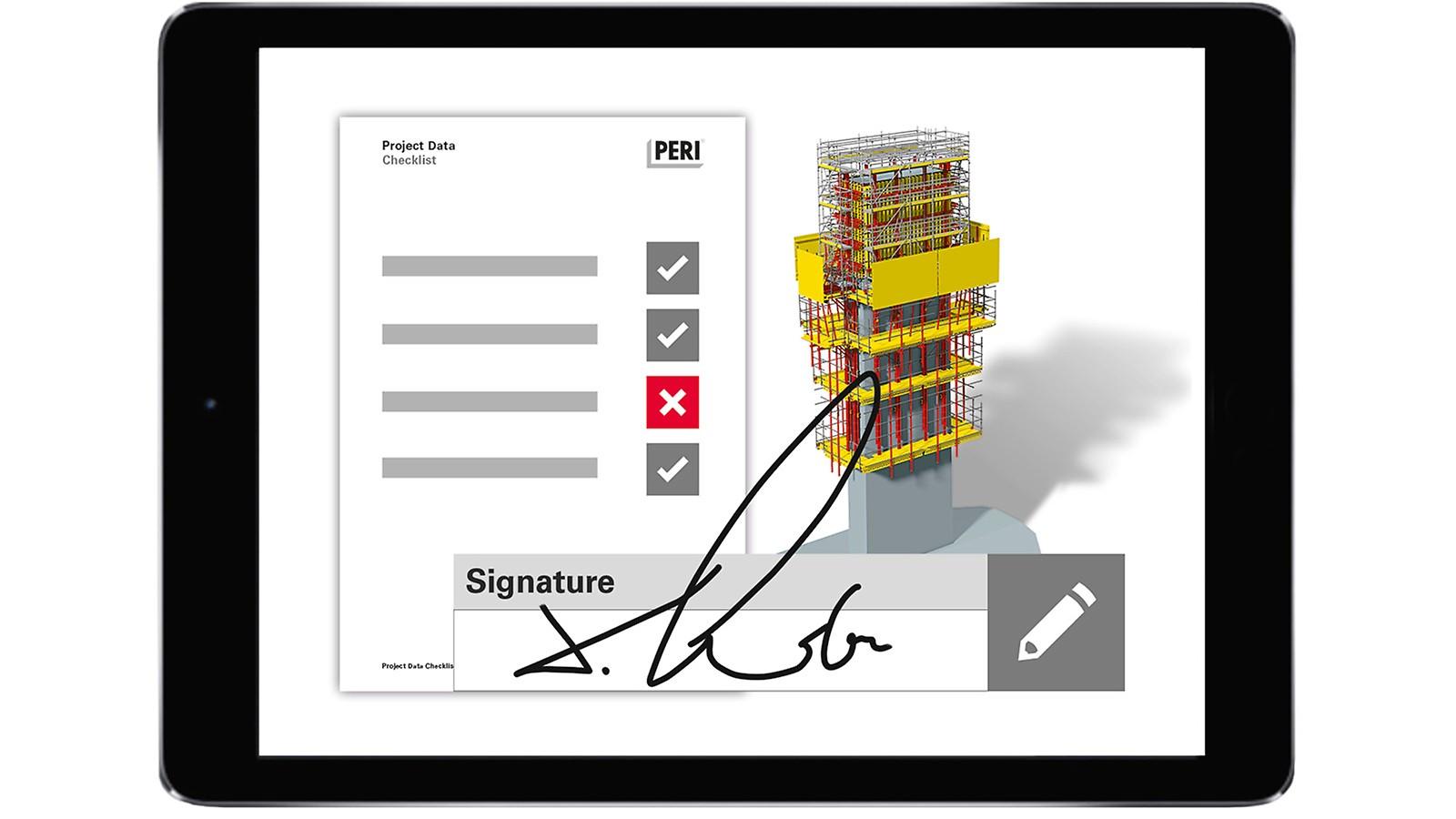 Checklisten für zuvor definierte Arbeitsabläufe sorgen für eine einwandfreie, digitale Dokumentation – direkt verknüpft mit dem zugehörigen Schalungsmodell.