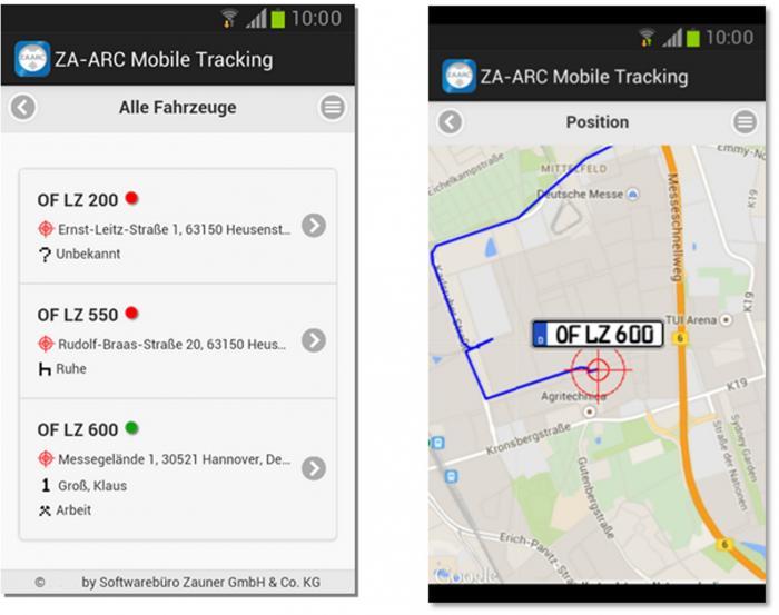 Mit der Gratis-App ZA-ARC®Mobile Tracking von Zauner kann der Fuhrparkleiter von unterwegs aus alle Standorte und Routen seiner Fahrzeuge orten.